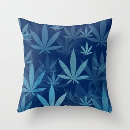 Marijuana Cannabis Weed Pot Blue Leaves Throw Pillow