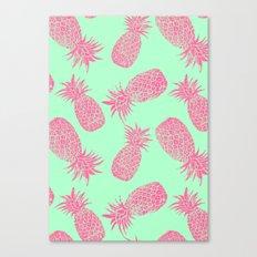Pineapple Pattern - Mint & Crimson Canvas Print