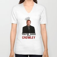 crowley V-neck T-shirts featuring I'm Crowley - Supernatural by KanaHyde