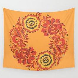 Orange Khokhloma Wall Tapestry