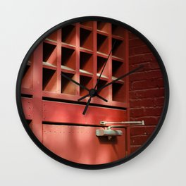 Red Architectural Detail Wall Clock