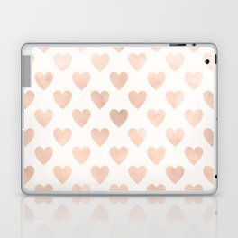 Cute Muted Pink Watercolor Hearts Pattern Laptop & iPad Skin