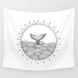Whale in Waves Wall Tapestry
