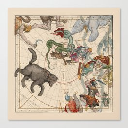 Pictorial Celestial Map with Constellations Ursa Major and Ursa Minor Canvas Print
