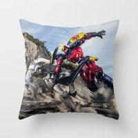 gurren lagann Throw Pillows featuring gurren battle by romar