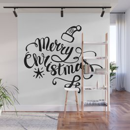 We wish you a merry christmas - typography quotes illustration Wall Mural