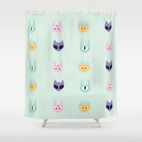 outer space Shower Curtains featuring Outer Space Cats - Pattern by gracekansai