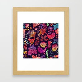 Watercolor birds and flowers Framed Art Print
