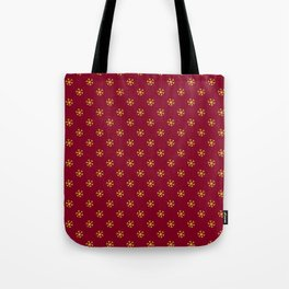 Electric Yellow on Burgundy Red Snowflakes Tote Bag