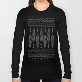 Tribal Feathers-Black & Cream Long Sleeve T-shirt