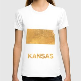 Kansas map outline Sandy brown clouded watercolor T-shirt
