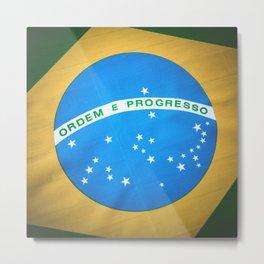 Brazilian flag background Metal Print