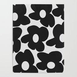 Black Retro Flowers White Background #decor #society6 #buyart Poster