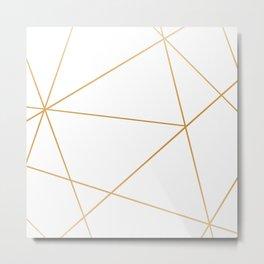 geometric gold and white Metal Print