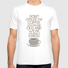 Coffee Warning MEDIUM White Mens Fitted Tee