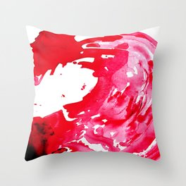 The One Who Came by Water and Blood. Watercolor Red Wave Throw Pillow