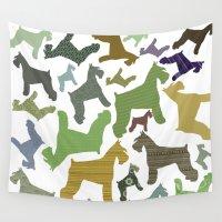 schnauzer Wall Tapestries featuring schnauzer pattern by monicamarcov