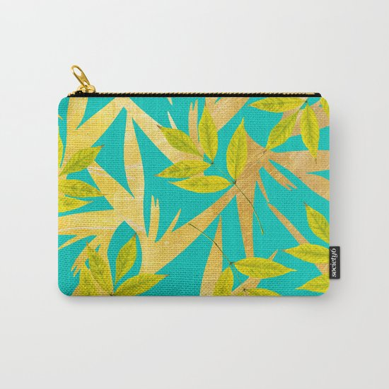 Gold & Teal Florals #society6 #decor #buyart Carry-All Pouch