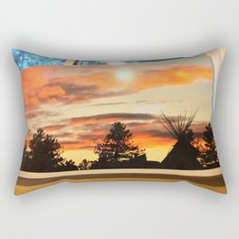 Teepee sunset near Canada Rectangular Pillow