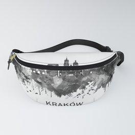 Krakow Poland Skyline BW Fanny Pack