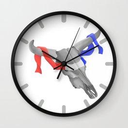 Patriotic Cow Skull Wall Clock