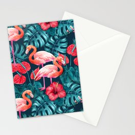 Flamingo birds and tropical garden        watercolor in blue and red Stationery Cards