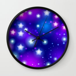 Milky Way Abstract pattern with neon stars on blue background Wall Clock