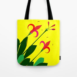 An Ancient Mediterranean Flowers with Yellow Background Tote Bag