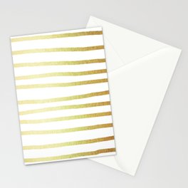 Simply Drawn Stripes 24k Gold Stationery Cards