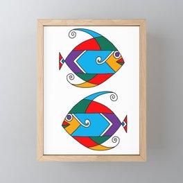 Fish art - African colour palette Framed Mini Art Print