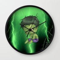 chibi Wall Clocks featuring Chibi Hulk by artwaste