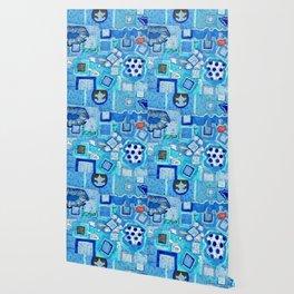 Blue Room with Blue Frames Wallpaper