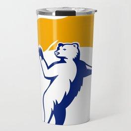 Polar Bear Holding Flag Waving Mascot Travel Mug