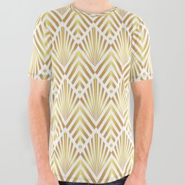 Gold art deco diamonds on white All Over Graphic Tee