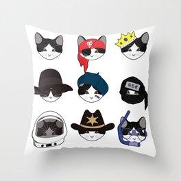 A Cat Living Nine Lives Throw Pillow