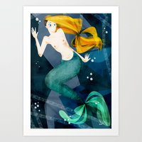 the little mermaid Art Prints featuring little mermaid by genie espinosa