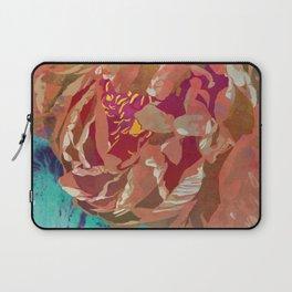 Peach Orange Peony Flower Art | Watercolor Floral Illustration Laptop Sleeve