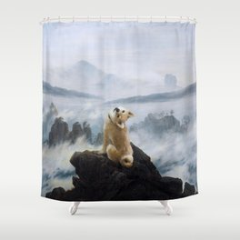 The Wanderer Above the Sea of Doge Shower Curtain