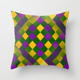 Harlequin Mardi Gras pattern Throw Pillow