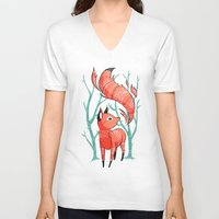 carpe V-neck T-shirts featuring Winter Fox by Freeminds
