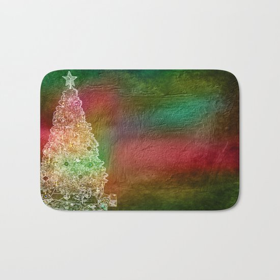 Christmas Tree on Vibrant textured background Bath Mat