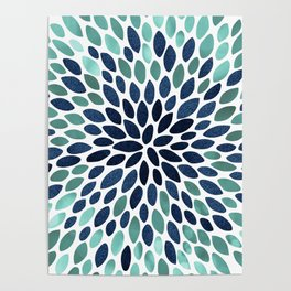Flower Bloom, Aqua and Navy Poster