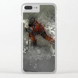 On Ice - Ice Hockey Player Modern Art Clear iPhone Case