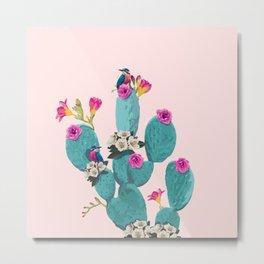 Cactus Hummingbirds Metal Print