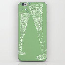Typographic Toasting Champagne Glasses iPhone Skin
