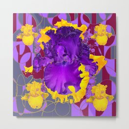 Amethyst Purple Iris Geometric lilac & Grey Patterns Metal Print