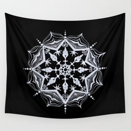 Snowflake on Black Wall Tapestry
