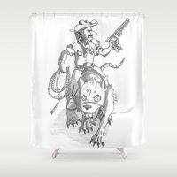 western Shower Curtains featuring western rat by kasowy