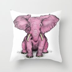 Pink Elephant and Roger Throw Pillow