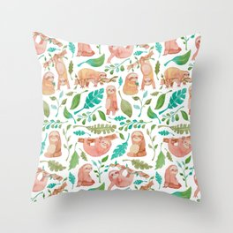 Sloth pattern watercolor design Throw Pillow